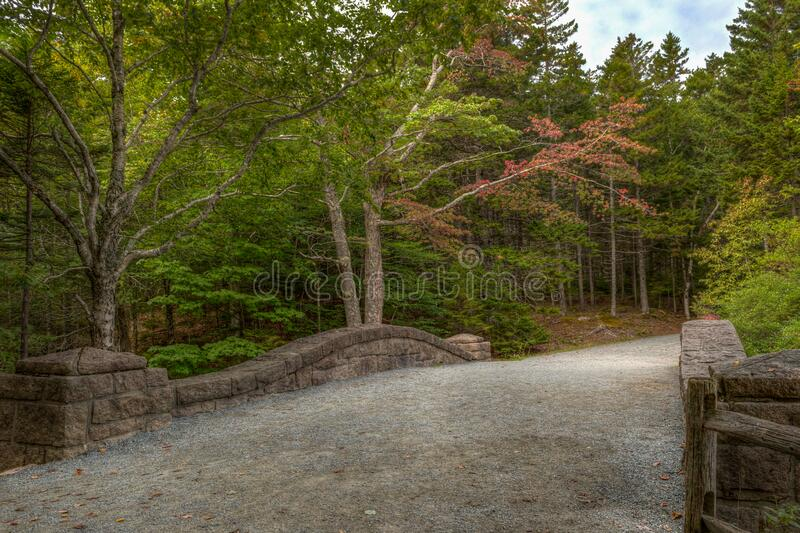 Acadia National Park Historic Pathway at Jordan Pond royalty free stock photography