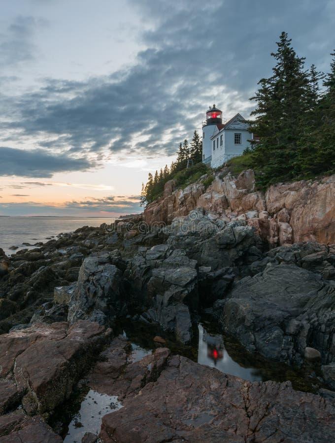 Acadia park narodowy - Basowy schronienia światło obrazy stock