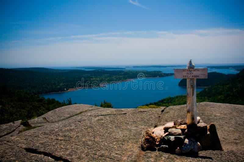 Acadia szczytu Halny markier obraz stock