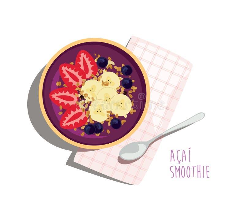 Acai圆滑的人碗-健康夏天膳食 向量例证