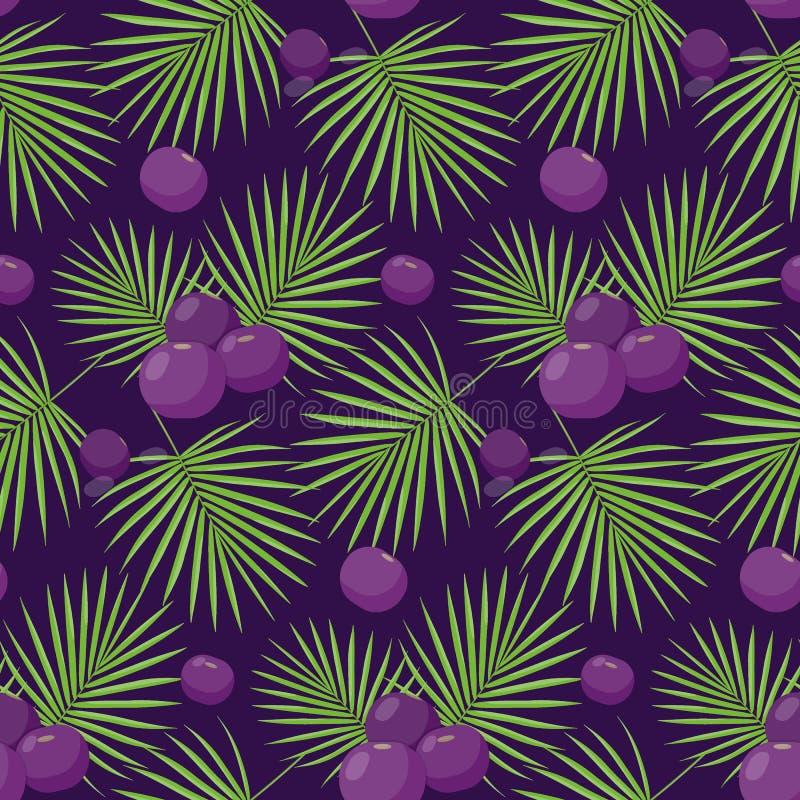 Acai berries seamless pattern royalty free illustration