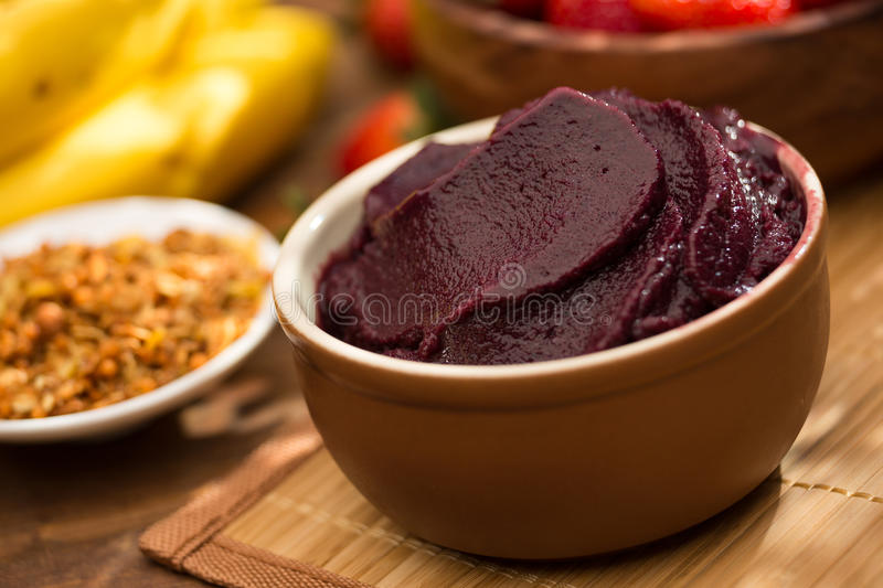 Acai fruit Amazon in the bowl royalty free stock photography