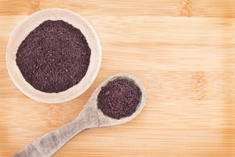 The amazon acai fruit Euterpe oleracea. The acai is a fruit of characteristic very dark purple color stock image