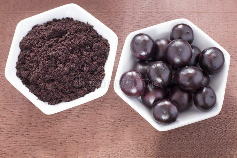 Acai frukt och pulver - Euterpeoleracea royaltyfria bilder