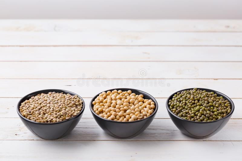 Acai superfoods bowl with mung bean seeds, soy and lentils royalty free stock photos