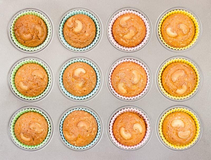 Acajoubaum-kleine Kuchen im Backblech lizenzfreie stockfotografie