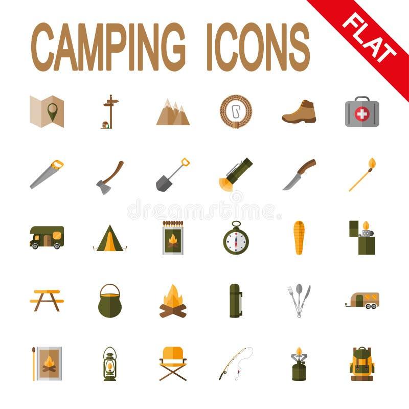 Acampamento ajustado do ícone ilustração royalty free