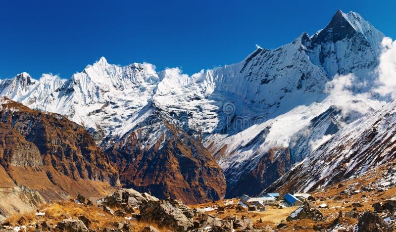 Acampamento baixo de Annapurna, Nepal foto de stock