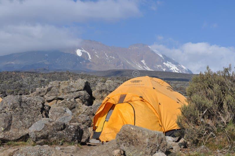 Acampamento baixo de Kilimanjaro da montagem fotografia de stock royalty free