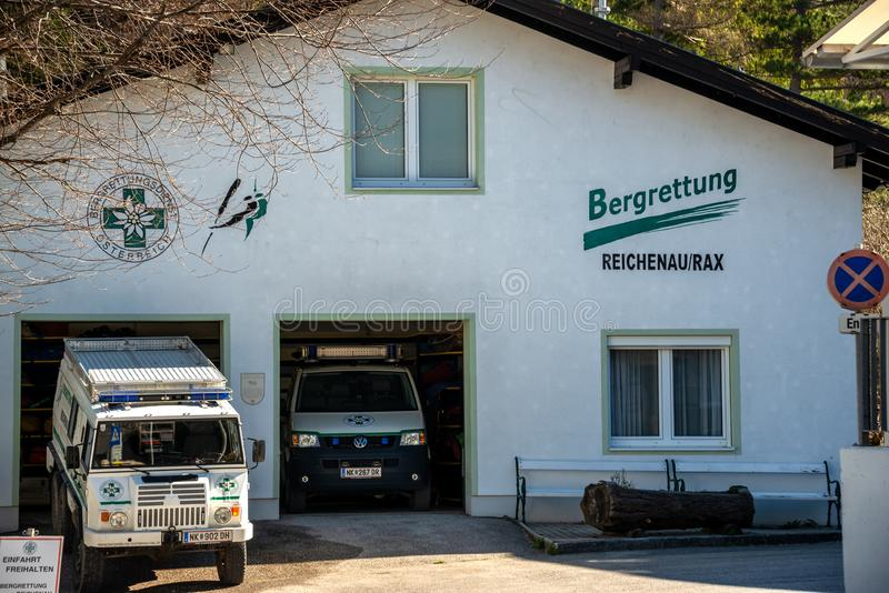 Acampamento base do salvamento da montanha em Reichenau foto de stock royalty free