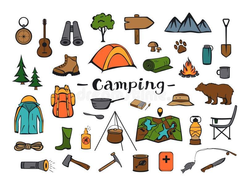 Acampamento caminhando a engrenagem da aventura do roadtrip do curso ilustração stock