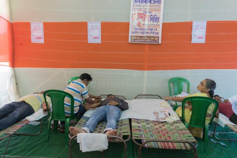 Acampamento da doação de sangue fotografia de stock