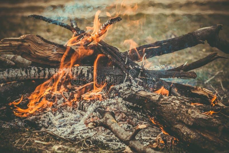 Acampamento de madeira da chama do fogo que queima-se exterior imagens de stock