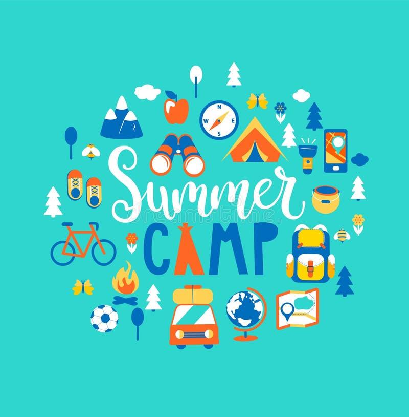 Acampamento de verão com muito equipamento de acampamento ilustração stock