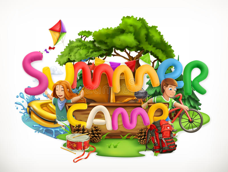 Acampamento de verão Ilustração do vetor das férias de verão ilustração do vetor