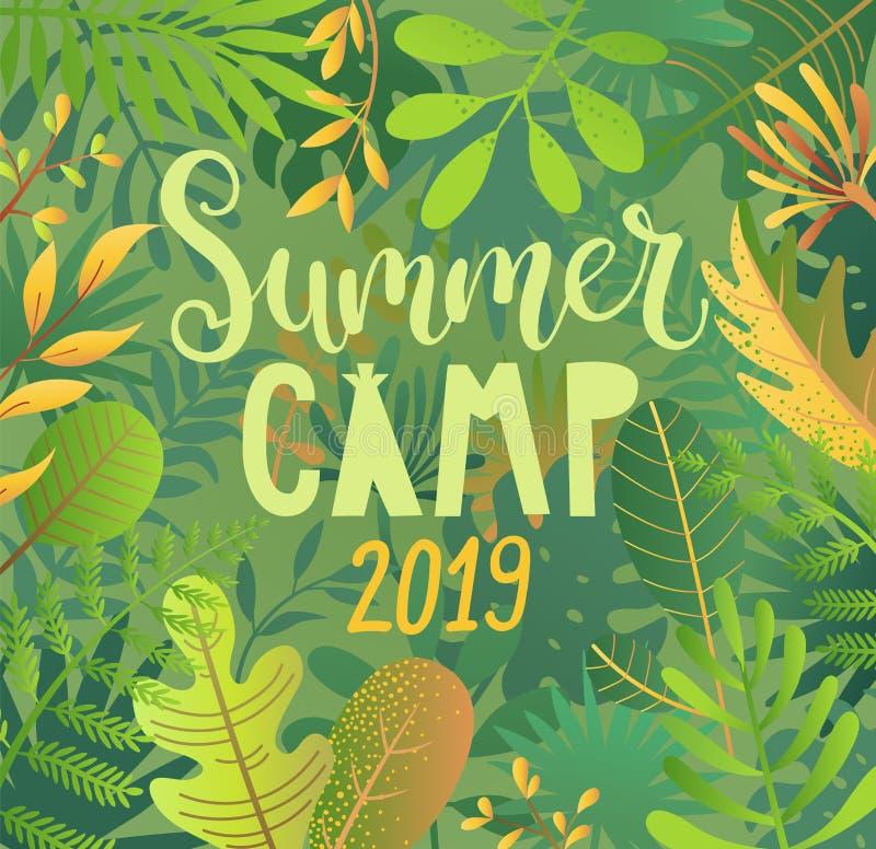 Acampamento de verão 2019 que rotula no fundo da selva ilustração royalty free