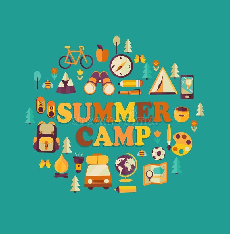 Acampamento de verão temático ilustração stock