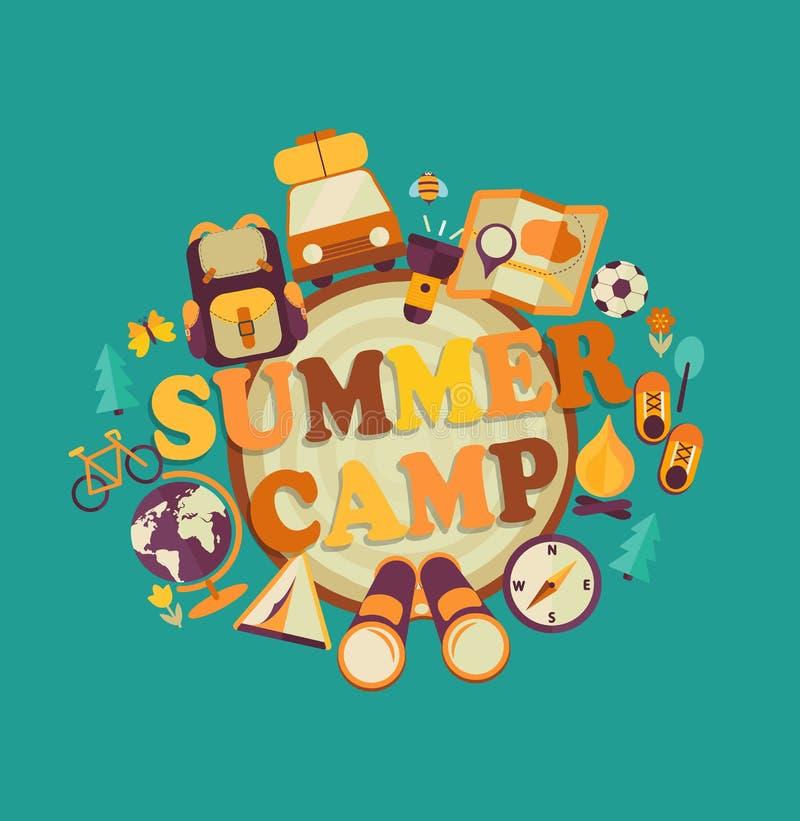 Acampamento de verão, vetor ilustração stock