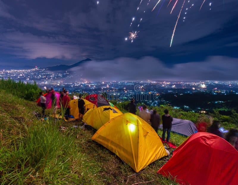 acampamento do ano novo foto de stock