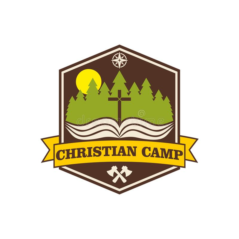 Acampamento do cristão do verão do logotipo ilustração royalty free