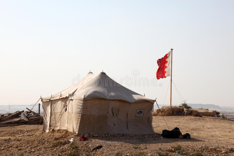 Acampamento do deserto em Barém fotografia de stock