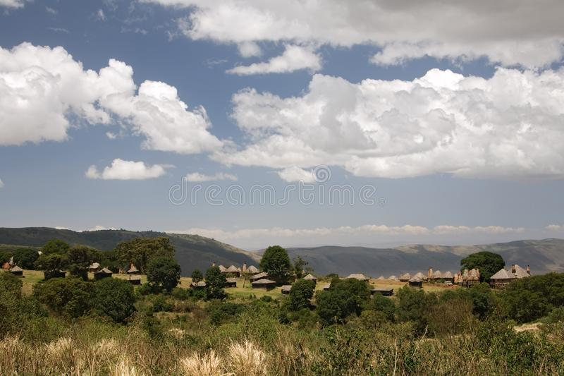 Acampamento do ngorongoro da paisagem 018 de África fotos de stock royalty free