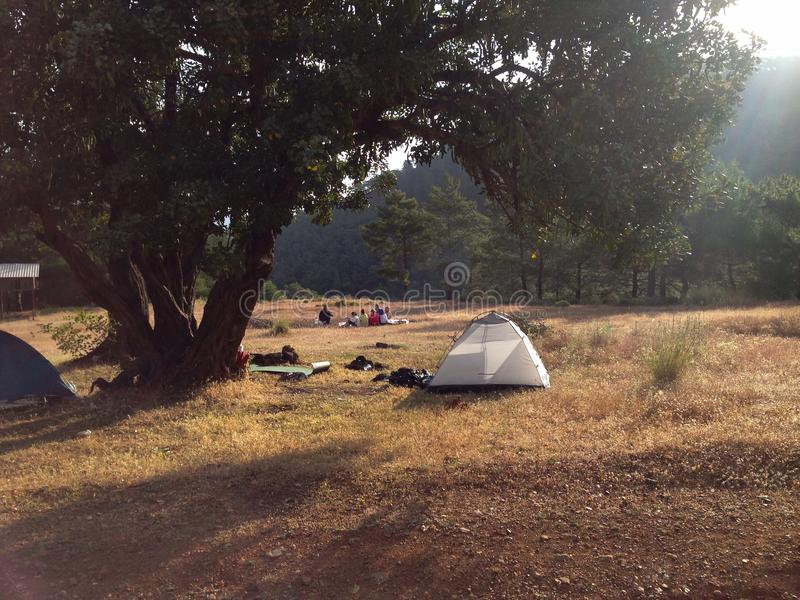 Acampamento do turista com barracas e fogo imagem de stock royalty free
