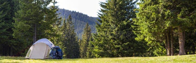 Acampamento do turista no prado verde com grama fresca no moun Carpathian fotografia de stock royalty free