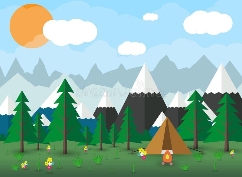 Acampamento do verão com uma fogueira ilustração do vetor