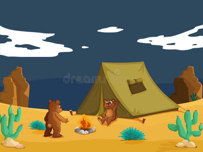 Acampamento dos ursos ilustração stock