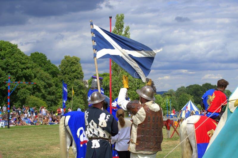 Acampamento medieval escocês do cavaleiro imagem de stock