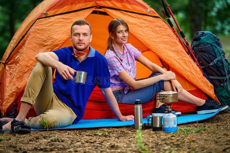 Acampamento na floresta imagem de stock