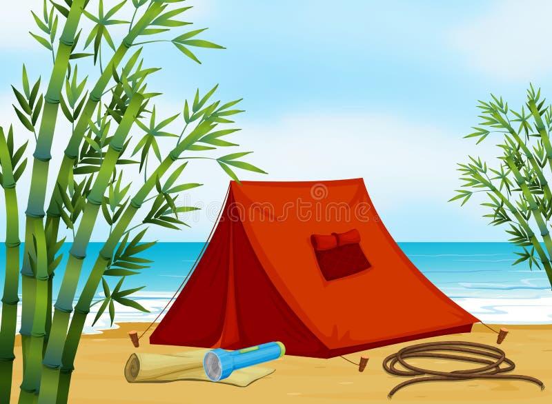 Acampamento na praia ilustração do vetor
