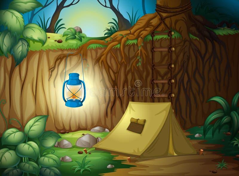 Acampamento na selva ilustração royalty free