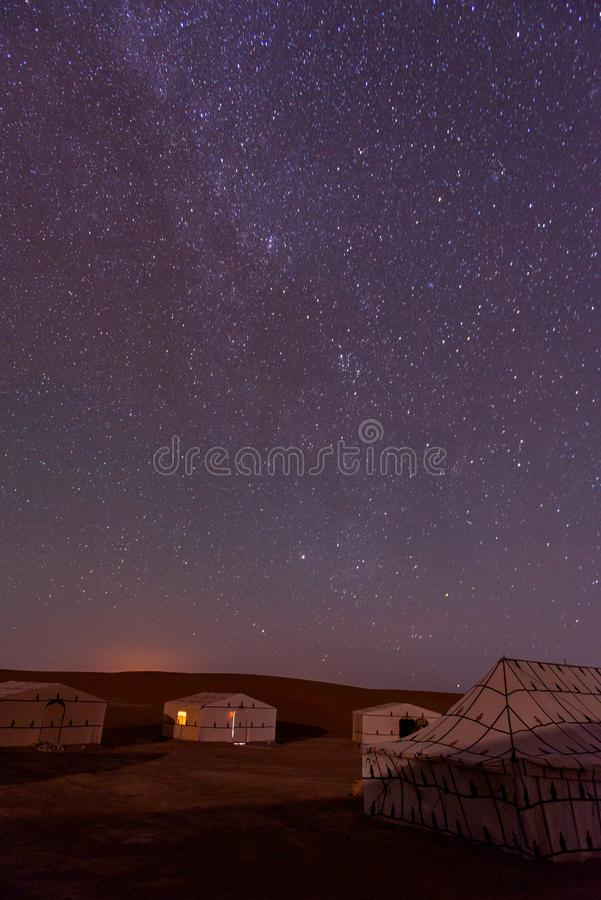 Acampamento no deserto de Sahara, Morroco imagens de stock