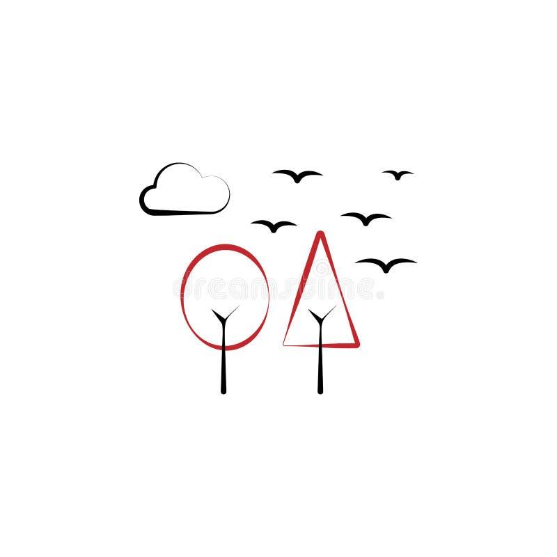 Acampando, bosque, árboles, pájaros, línea coloreada icono de la nube 2 Ejemplo exhausto del elemento de color de la mano simple  ilustración del vector