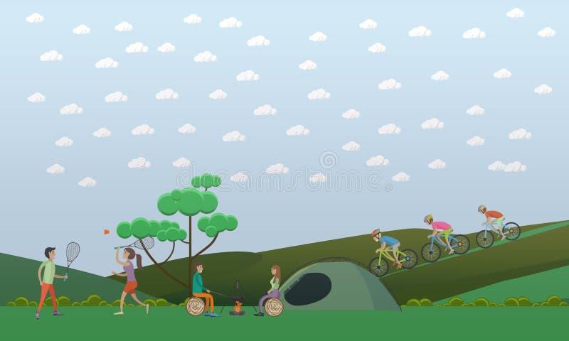 Acampando, ejemplo del vector del concepto de las actividades al aire libre del verano en estilo plano libre illustration