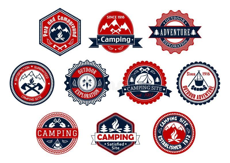 Acampando, insignia al aire libre de la aventura para el diseño del viaje ilustración del vector