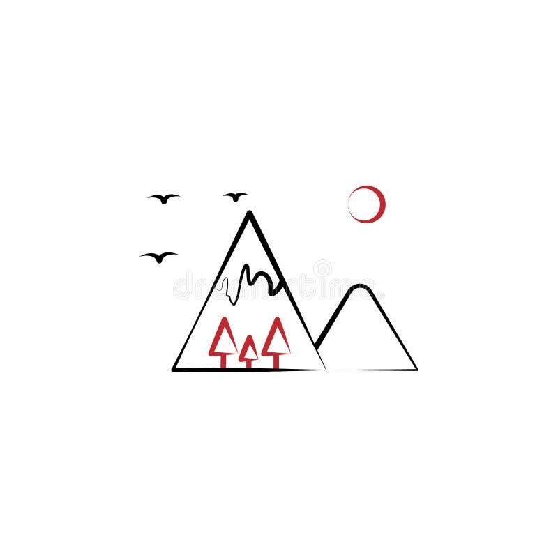 Acampando, montañas, pájaros, línea coloreada icono de los árboles 2 Ejemplo exhausto del elemento de color de la mano simple El  libre illustration