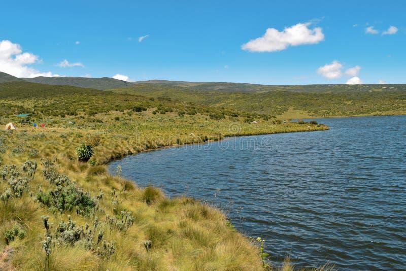 Acampando no lago Ellis, o Monte Quénia imagem de stock