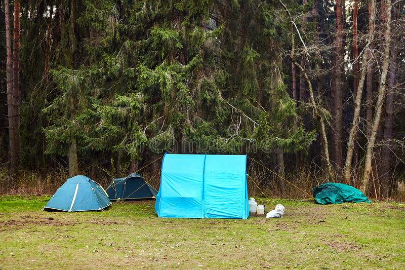 acampar Barracas do turista na floresta fotografia de stock