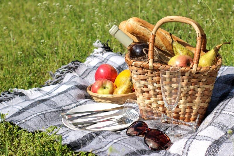acampar Cesta do piquenique com fruto do vinho e outros produtos em uma manta cinzenta na grama fotos de stock royalty free