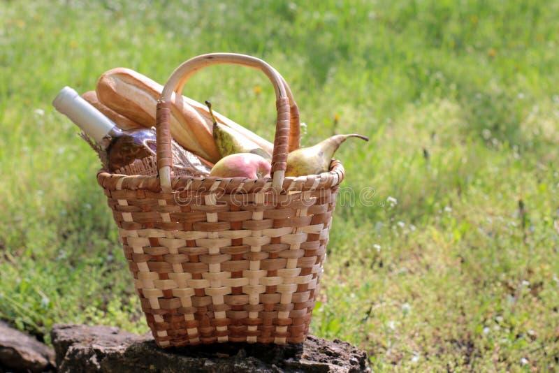 acampar Piquenique na natureza Cesta do piquenique com fruto do vinho e outros produtos na grama verde grossa Resto do ver?o fotos de stock royalty free