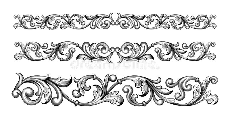 Acanthus antikvitet, arabiska, barock som är svartvit, gräns som är calligraphic, cartouche, klassiker, hörn, damast, garnering,  vektor illustrationer
