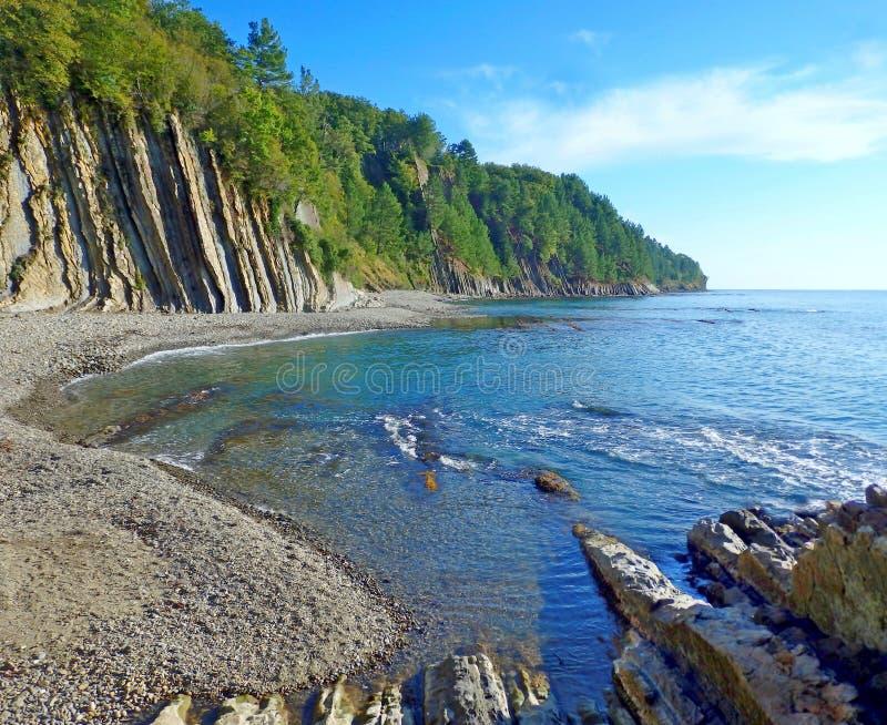 Acantilado de Kiselev también conocido como acantilado de rasgones, Tuapse, el Mar Negro, Rusia fotografía de archivo libre de regalías