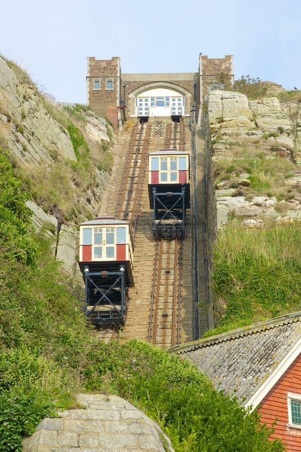 Acantilado funicular en Hastings inglaterra fotos de archivo libres de regalías