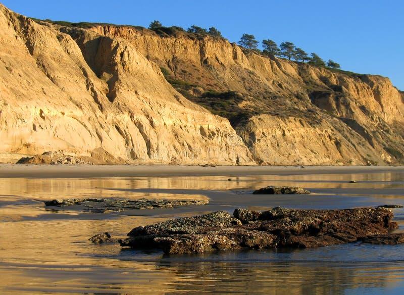 Acantilados con reflexiones en la playa de estado de los pinos de Torrey, La Jolla, California fotografía de archivo