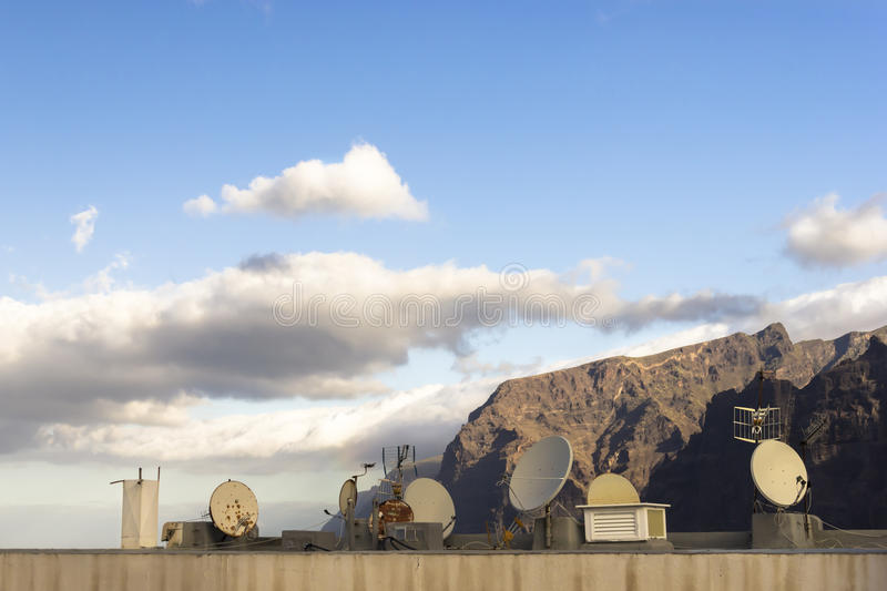 Acantilados de los Gigantes roof satellites in the morning light stock images