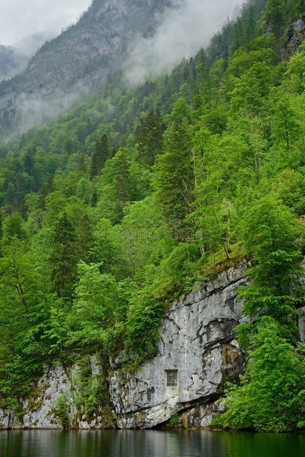 Acantilados y bosque bávaros del lago foto de archivo libre de regalías