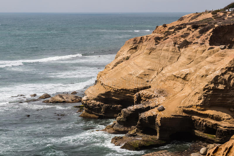 Acantilados y pájaros de mar en el punto Loma Tidepools fotos de archivo libres de regalías